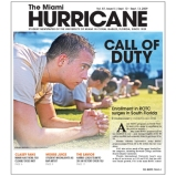 The Miami Hurricane Newspaper, September 2009, Coral Gables, FL. Second redesign the paper had been through in 3 years.