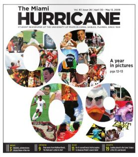 The Miami Hurricane Newspaper, May 2009, Coral Gables, Fl. Columbia Scholastic Press Association Gold Circle Award, Page One Design, Third Place